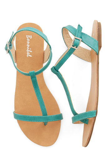 Stepping Toward the Shore Sandal - Flat, Faux Leather, Solid, Beach/Resort, Summer, Good, Green, Casual