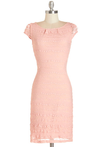 Lavishly Lovely Dress - Variation, Pink, Solid, Lace, Pastel, Shift, Cap Sleeves, Summer, Knit, Good, Boat, Mid-length, Lace, Girls Night Out, Daytime Party