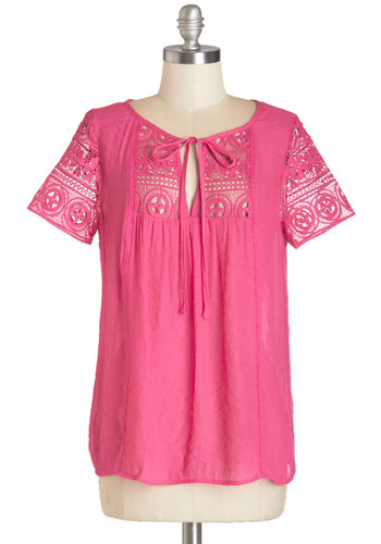 Sing-Along Time Top - Mid-length, Woven, Pink, Solid, Crochet, Casual, Beach/Resort, Boho, Short Sleeves, Summer, Scoop, Pink, Short Sleeve