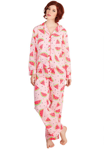 Fruit Be Told Pajamas - Pink, Buttons, Fruits, Darling, Long Sleeve, Multi, Cotton, Woven, Novelty Print, Trim