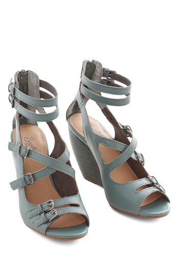 Escape Wedge in Slate Blue by Seychelles - Mid, Leather, Grey, Solid, Buckles, Party, Daytime Party, Best, Wedge, Strappy, Variation, Blue