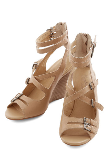 Escape Wedge in Tan by Seychelles - Mid, Leather, Tan, Solid, Buckles, Party, Daytime Party, Best, Wedge, Strappy, Variation