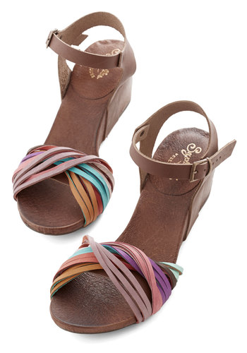 Ignite Wedge by Seychelles - Mid, Leather, Brown, Multi, Beach/Resort, Boho, Summer, Better, Wedge, Daytime Party