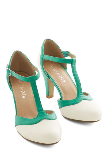 Jade Upgrade Heel by Chelsea Crew - Mid, White, Green, Solid, Prom, Wedding, Party, Daytime Party, Vintage Inspired, 20s, Better, T-Strap