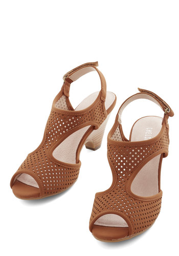 Leaps and Bountiful Heel in Cinnamon by Chelsea Crew - Mid, Tan, Solid, Cutout, Better, Peep Toe, Slingback, Variation, Daytime Party, Beach/Resort