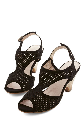 Leaps and Bountiful Heel in Black by Chelsea Crew - Mid, Black, Solid, Cutout, Party, Girls Night Out, Better, Slingback, Daytime Party, Beach/Resort