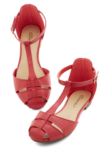 Mellow Mantra Sandal - Flat, Faux Leather, Red, Solid, Daytime Party, Good, T-Strap, Casual, Vintage Inspired, Top Rated