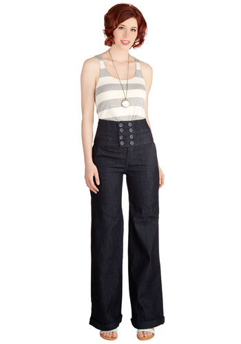 My Jam Jeans - High Waist, Wide Leg, Spring, Good, Ultra High Rise, Full length, Blue, Dark Wash, Denim, Denim, Woven, Blue, Buttons, Nautical