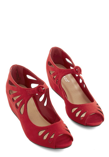 Lyon Your Mark Wedge in Rouge - Low, Red, Solid, Cutout, Wedding, Party, Holiday Party, Darling, Good, Wedge, Variation