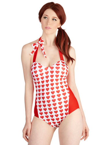 Loving the Lake One-Piece Swimsuit - Red, White, Bows, Beach/Resort, Pinup, Vintage Inspired, 50s, Darling, Sleeveless, Summer, Knit, Novelty Print