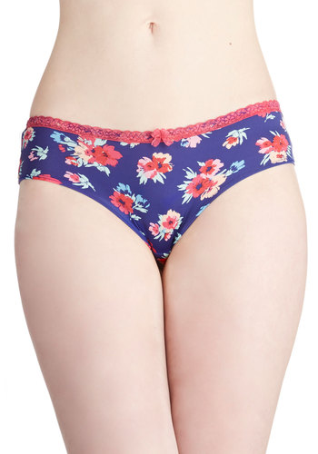 Vibrant Moments Undies - Blue, Multi, Floral, Good, Knit, Bows, Lace