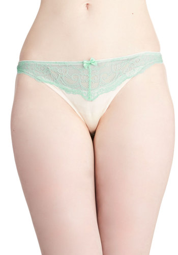 Airy Which Way Thong - Cream, Mint, Solid, Pastel, Colorblocking, Boudoir, Good, Sheer, Knit, Lace