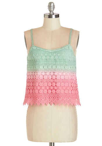 Wishing for Watermelon Tank - Good, Multi, Sleeveless, Short, Cotton, Knit, Green, Pink, Ombre, Crochet, Casual, Boho, Festival, Cropped, Spaghetti Straps, Summer