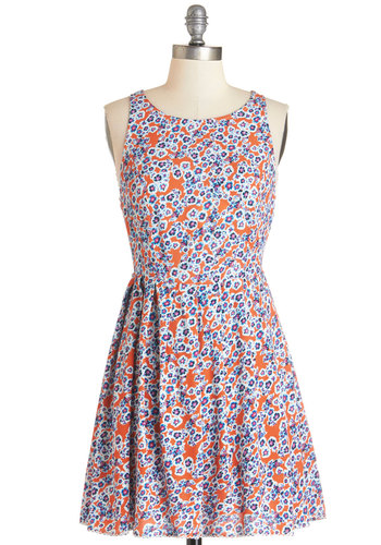 Flowers at Sunrise Dress by Mink Pink - Orange, Blue, Floral, Buttons, Cutout, Pleats, Casual, Sundress, A-line, Sleeveless, Summer, Woven, Better, Scoop, Short