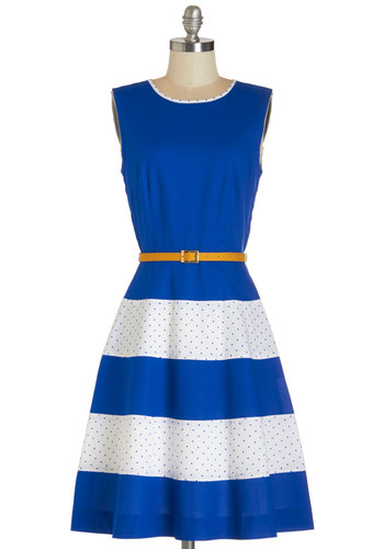 Homemade Pie Swap Dress by Bea & Dot - Blue, Daytime Party, Fit & Flare, Sleeveless, Summer, Woven, Better, Scoop, Cotton, White, Polka Dots, Belted, Colorblocking, Exclusives, Private Label, Press Placement, Long