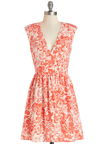 Ladylike and Lively Dress - Orange, Daytime Party, A-line, Sleeveless, Summer, Woven, Better, V Neck, Mid-length, White, Paisley, Exposed zipper