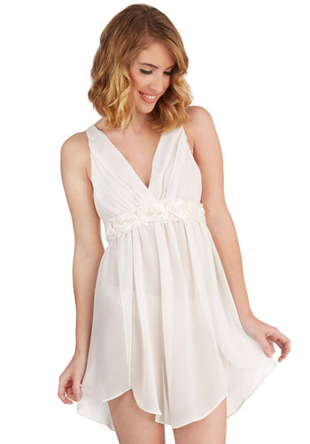 Dreamy Come True Nightgown - Chiffon, Sheer, Woven, White, Wedding, Boudoir, Flower, V Neck