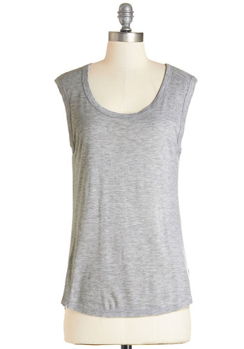 Friends by the Firepit Top - Grey, Sleeveless, Mid-length, Jersey, Knit, Grey, Solid, Casual, Sleeveless, Summer, Basic, Minimal, Scoop