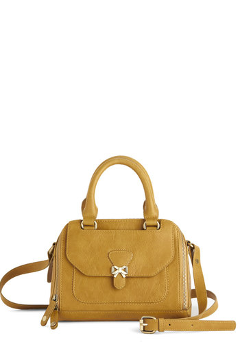 Adventurous Acumen Bag by Nica - Solid, Safari, Travel, Faux Leather, Yellow, Fall