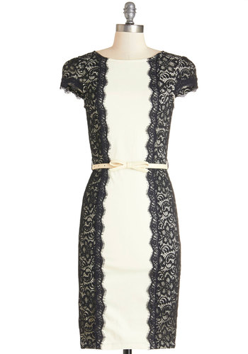 London Luncheon Dress - Long, Knit, Lace, Black, White, Lace, Belted, Party, Shift, Cap Sleeves