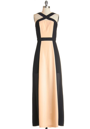 Atop the Staircase Dress - Long, Woven, Cream, Black, Solid, Special Occasion, Girls Night Out, Colorblocking, Maxi, Sleeveless
