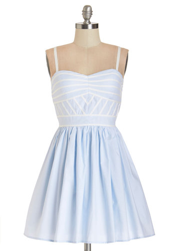 Lush with Beauty Dress in Pale Sky - Blue, White, Exposed zipper, Trim, Variation, Casual, Beach/Resort, Sundress, Pastel, A-line, Summer, Woven, Better, Sweetheart, Short, Spaghetti Straps