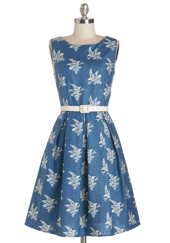 Soaring Through the Day Dress by Myrtlewood - Cotton, Woven, Blue, White, Print with Animals, Pockets, Belted, Casual, Exclusives, Private Label, Critters, Bird, Woodland Creature, Full-Size Run, Mid-length