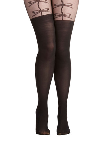 Cue the Cute Tights - Black, Print, Pinup, Boudoir, Sheer, Knit, Party