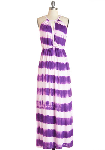 Ink Positively Dress in Purple - Purple, White, Tie Dye, Cutout, Casual, Beach/Resort, Maxi, Sleeveless, Summer, Knit, Better, Exclusives, Variation, Long, Jersey, Press Placement