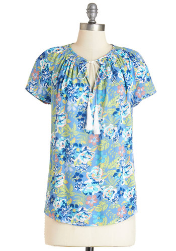 Tropical Theme Song Top - Mid-length, Woven, Blue, Multi, Floral, Tassels, Casual, Beach/Resort, Short Sleeves, Blue, Short Sleeve