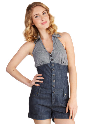 Prairie Cycle Romper - Spring, Summer, Good, Halter, Blue, Medium Wash, Romper, Long, Cotton, Denim, Woven, Blue, Solid, Checkered / Gingham, Buttons, Pockets, Casual, Americana, Sleeveless, Collared