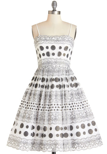 Pop Exquisite Dress - Short, Woven, Tulle, Black, White, Polka Dots, Print, Pleats, Special Occasion, Prom, Party, Vintage Inspired, 50s, 60s, Fit & Flare, Spaghetti Straps, Exclusives