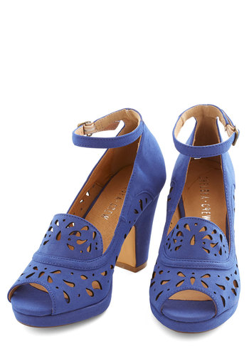Daiquiri Jamboree Heel in Cobalt by Chelsea Crew - Mid, Blue, Solid, Cutout, Prom, Wedding, Party, Cocktail, Bridesmaid, Bride, Luxe, Better, Peep Toe, Chunky heel, Variation