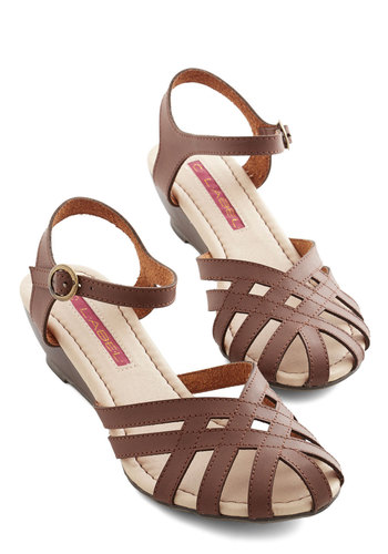 Brownie Bakery Sandal - Low, Faux Leather, Brown, Solid, Beach/Resort, Boho, Summer, Good, Wedge