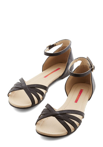 Anywhere You Rome Sandal in Black - Flat, Faux Leather, Black, Solid, Beach/Resort, Summer, Good, Variation