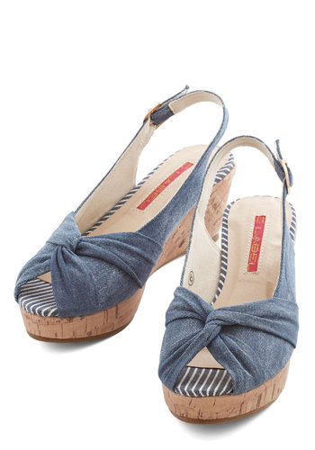 All-Out Casual Wedge - Mid, Denim, Woven, Blue, Daytime Party, Beach/Resort, Summer, Good, Peep Toe, Slingback, Solid, Nautical