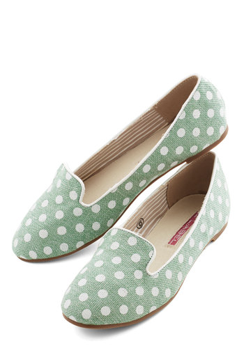 Backyard Hostess Flat - Flat, Woven, Mint, Polka Dots, Casual, Daytime Party, Menswear Inspired, Good, White