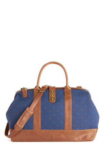 The Scenic Commute Weekend Bag in Smooth Sailing - Blue, Tan / Cream, Multi, Novelty Print, Nautical, Travel, Blue, Faux Leather, Woven, Variation, Fall, Winter