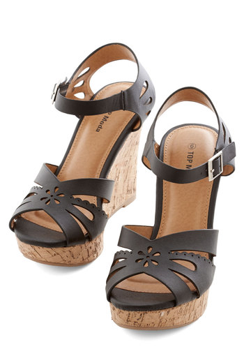 Lively in Lisbon Wedge - Wedge, High, Faux Leather, Black, Solid, Cutout, Daytime Party, Summer, Good, Platform