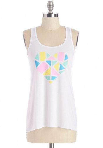 I Heart Dancing Tank - White, Sleeveless, Mid-length, Knit, White, Novelty Print, Casual, Pastel, Tank top (2 thick straps), Summer, Scoop