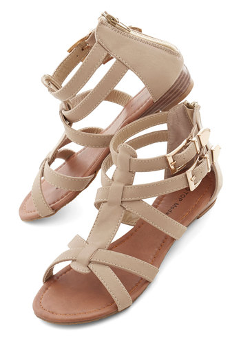 Hop, Trip, and a Jump Sandal - Low, Faux Leather, Tan, Solid, Beach/Resort, Boho, Summer, Good, Strappy