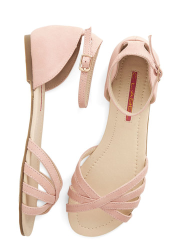 Anywhere You Rome Sandal in Pink - Flat, Faux Leather, Pink, Solid, Beach/Resort, Summer, Good, Variation, Pastel