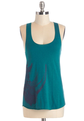 Rhino Can You Go? Tank - Green, Sleeveless, Mid-length, Jersey, Knit, Print with Animals, Casual, Safari, Critters, Tank top (2 thick straps), Summer, Blue, Scoop
