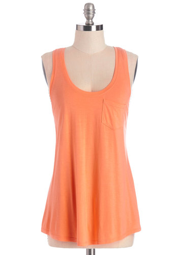 Casual Classic Top in Orange - Mid-length, Knit, Orange, Solid, Casual, Sleeveless, Summer, Orange, Sleeveless, Pockets, Variation, Basic, Scoop