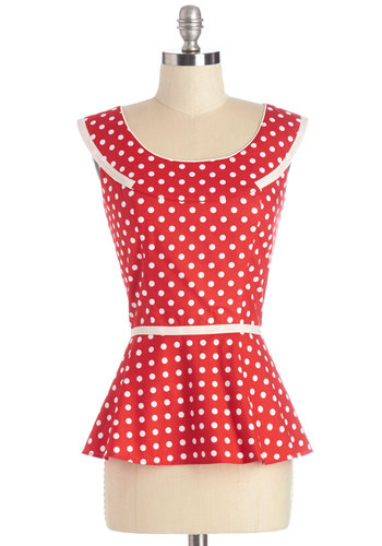 You're All Tact Top by Trollied Dolly - Mid-length, Cotton, Woven, Red, White, Polka Dots, Daytime Party, Rockabilly, Pinup, Vintage Inspired, 50s, Darling, Sleeveless, Red, Sleeveless, Trim, Scoop