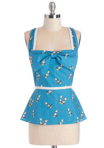 Cockatiel There Was You Top - Mid-length, Cotton, Woven, Blue, Print with Animals, Daytime Party, Rockabilly, Pinup, Vintage Inspired, 50s, Darling, Critters, Sleeveless, Summer, Sweetheart, Blue, Sleeveless, Bows, Bird, Woodland Creature