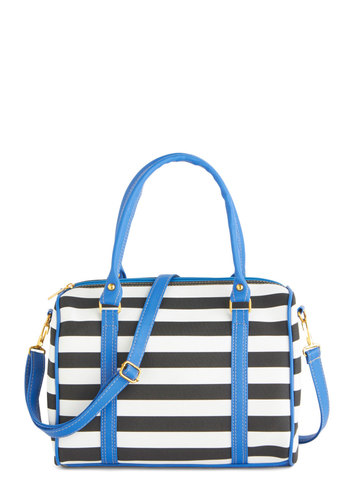 Too Haute to Handle Bag - Black, White, Blue, Stripes, Nautical, Faux Leather