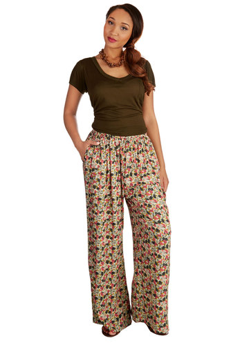 Yes You Candid Pants - Wide Leg, Good, Mid-Rise, Full length, Multi, Non-Denim, Woven, Multi, Floral, Pockets, Casual