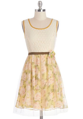 Fun Sweet Day Dress by Ryu - Multi, Floral, Buttons, Cutout, Trim, Sundress, Valentine's, A-line, Sleeveless, Summer, Woven, Good, Scoop, Mid-length, Lace, Tulle