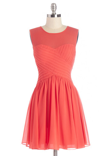 Flair Game Dress in Coral - Coral, Solid, Special Occasion, Prom, A-line, Sleeveless, Summer, Woven, Better, Scoop, Short, Party